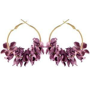Jewelry - Boho Spring Flower Petal Gold Hoop Earrings